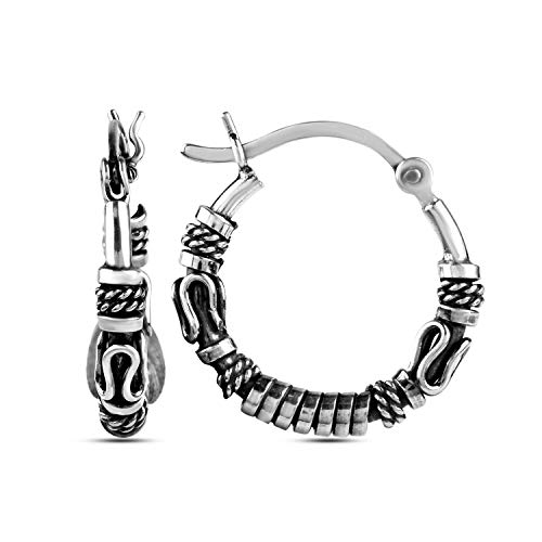 LeCalla Sterling Silver Jewelry Antique Light-Weight Tribal Hoop Earrings for Girl Women (Sterling Silver Earrings Antique)
