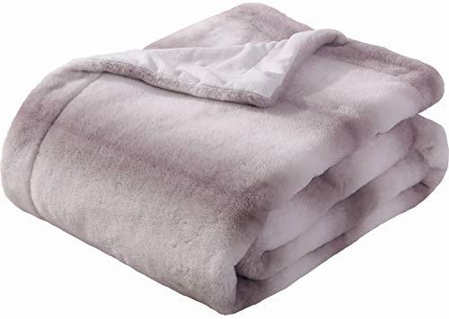 Medium Faux Fur - Sedona House Faux Fur Throw Blanket - Super Soft Fuzzy Faux Fur Cozy Warm Fluffy Beautiful Plush Microfiber Throw Blanket, Coffee Stripe