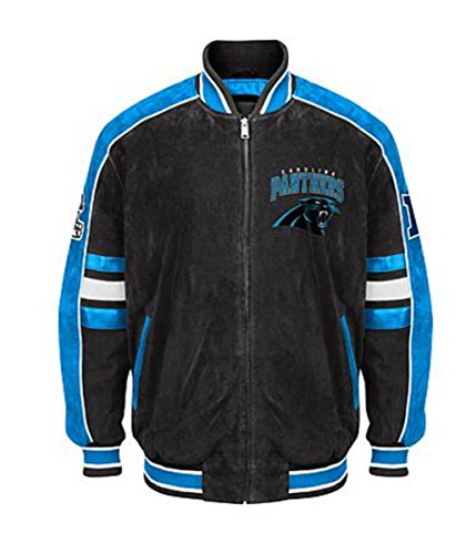 Carolina PANTHERS Officially Licensed NFL Colorblocked Suede Varsity Jacket by GIII~ 2X