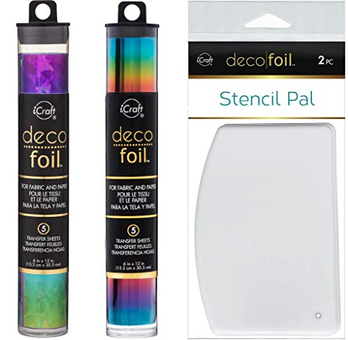 Deco Foil Double Rainbow Set - Rainbow Shattered Glass and Rainbow Specialty Transfer Sheets with Stencil Pals