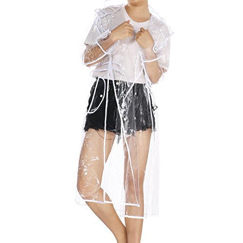 (UNIQUEBELLA Waterproof Raincoat Lightweight Packable Raincoat Transparent Rain Ponchos Rainwear Women - White)