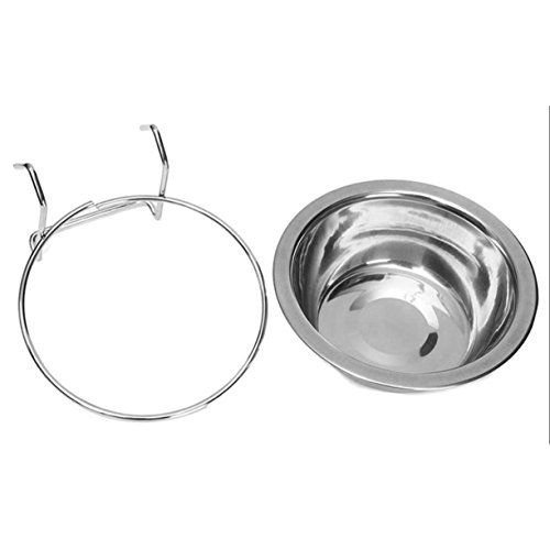 Pet Stainless Steel Cage Bowl Hanger, Stainless Steel Pet Dog Bowl Food Water Drinking Cage Cup Hanger Food Water Bowl Travel Bowl For Pet Feeding Tools