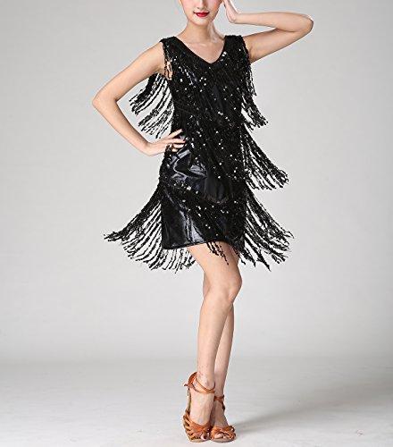 Whitewed Frange Années 1920 Cou V Sequin Charleston Robes De Danse Costumes Garçonne Noir Pur