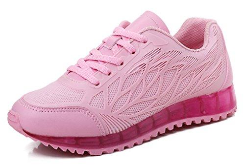 NEWZCERS Zapatillas de deporte de funcionamiento que caminan respirable bastante de la manera calza las mujeres rosado
