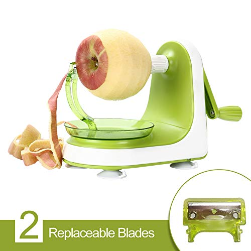Valuetools Manual Apple Peeler Slicer - Suction Non Slip Counter Grips - Automatic Hand Crank - Replaceable Stainless Steel Blades with Protect Cover