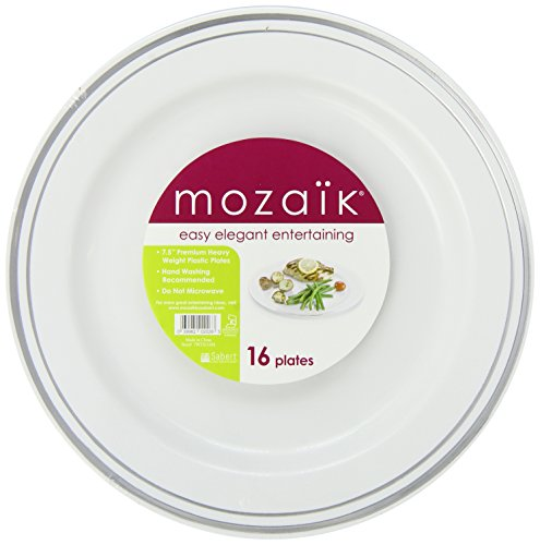 Mozaik 16-Piece Disposable Round Plates, 7.5-inch, (Pack of 8)