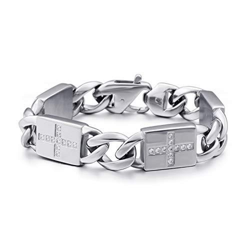 Aegean Jewelry Mens Stainless Steel Bracelet Polished Glitter Cross Design Rectangle Link Bracelet