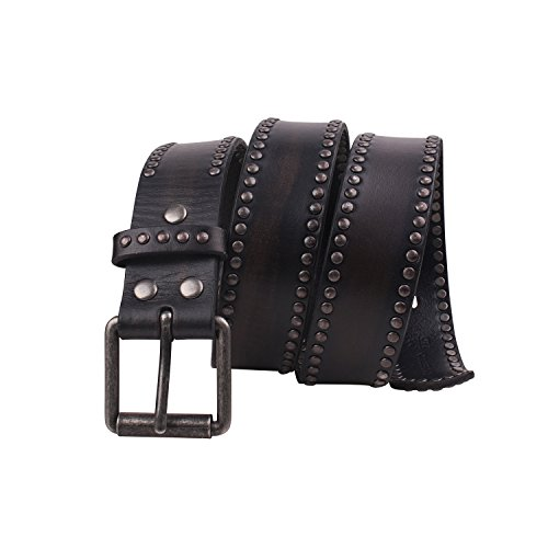 Fioretto Men Studded Jeans Leather Belt Punk Fashion Vintage Pin Belts Italian Cowhide Black 38 (Leather Studded Jeans)