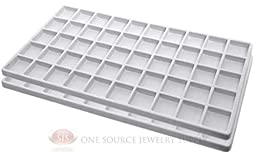 2 White Insert Tray Liners W/ 50 Compartments Drawer Organizer Jewelry Displays