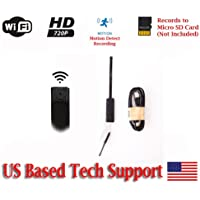 720p HD WIFI PINHOLE SPY CAMERA with Motion Detection, DC or battery Powered, Micro SD Card Slot, Portable Mini WiFi DIY Hobbie Sport Wearable Mobile Hidden Nanny Cam Spy Gadget