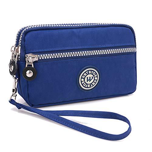 3 Layers Zipper Wallet Purse Waterproof Nylon Handbag Cellphone Bag Storage Pouch Case with Wrist Strap for Apple iPhone Samsung/Key Money MP3 Card Under 6'' ()