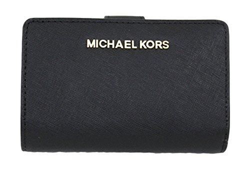 MICHAEL Michael Kors Jet Set Travel Bifold Zip Coin Wallet (Black) by Michael Kors