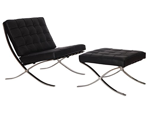 Barcelona Leather Ottoman (MCM Barcelona Style Modern Pavilion Chair with Ottoman (Black) - High Quality Italian Leather with Stainless Steel Frame - HS004BIL-3)