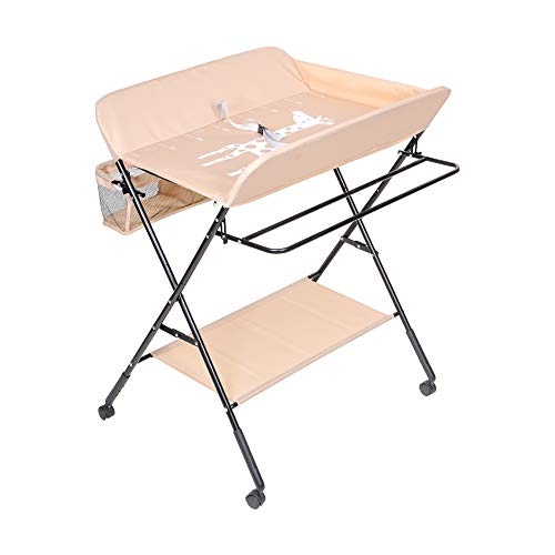 aHUMANs Baby Changing Table, Foldable Infant Care Station with Wheels, Mobile Newborn Massage Table Space-Saving Dresser Diaper Organizer