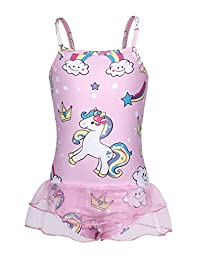 MetCuento Girls Unicorn Swimsuit One Piece Flounce Swimwear Beach Swim Suit 2-10 Years