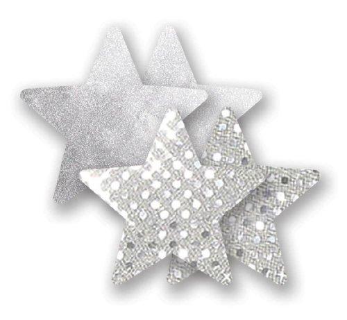 Nippies Silver Sequin Metallic Star Waterproof Self Adhesive Nipple Cover Pasties (C)