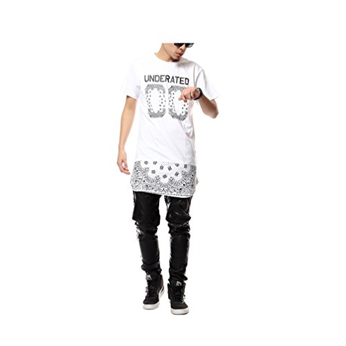 Zero Unisex Cashews Tattoos Hip Hop Side Zip up Extra Long T Shirts (L ( e08ce389ea18