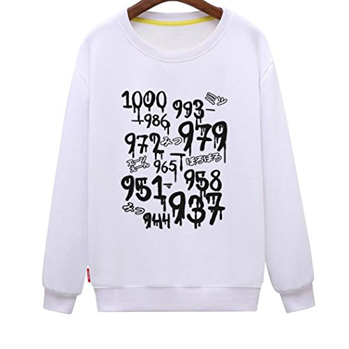 CINFUN Women's 1000 Minus 7 Cool Novelty Anime Sweatshirt (White Small) -