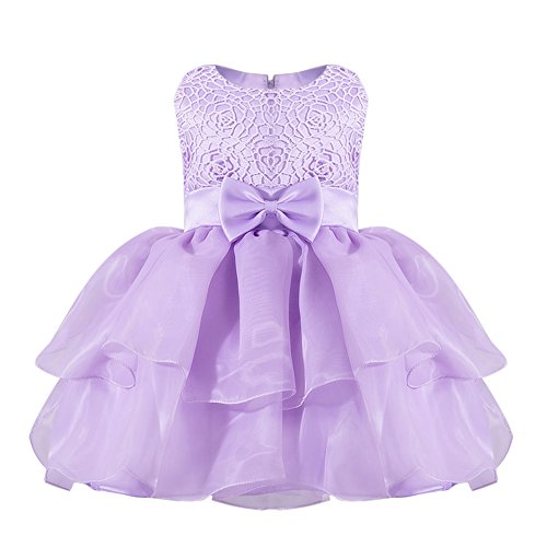 OBEEII Baby Toddler Girl Lace Flower Tutu Dress Sleeveless Pageant Party First Communion Wedding Princess Short Evening Gown Lilac 12-18 Months by OBEEII
