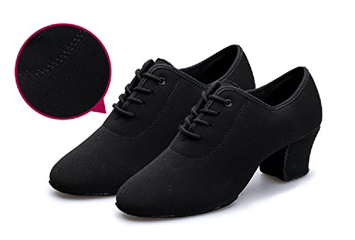 - DLisiting Latin Dance Shoes Womens Black Oxford Cloth Ballroom Modern Dance Shoes (US10.5)