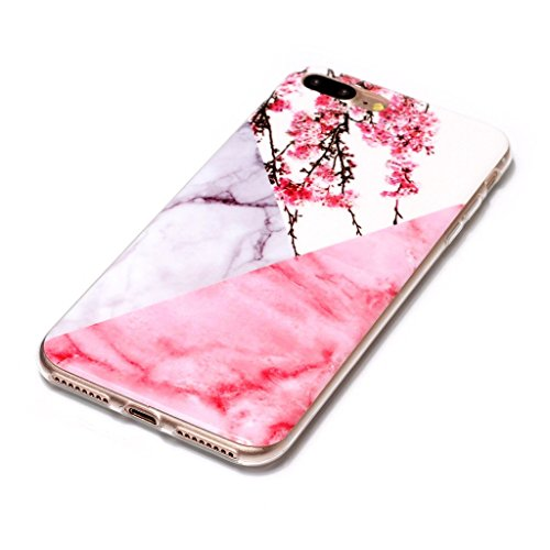 Custodia per iPhone 8 Plus, Custodia per iPhone 7 Plus ,JIENI Protezione TPU Marmo naturale naturale di alta qualità Fiore di prugna di polvere Morbido Bumper Cover Silicone Case per iPhone 8 Plus (20