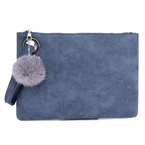 Women Hairball Solid Color Leather Zipper Coin Purse Bag Clutch Bag Phone Bag by TANGTANGYI (Image #1)