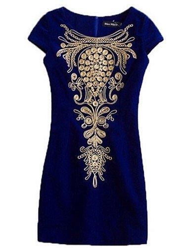 PU&PU Robe Aux femmes Gaine Street Chic,Imprimé Col Arrondi Au dessus du genou Coton , royal blue-l , royal blue-l