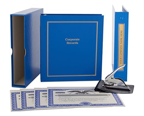 Blue Corporate Kit - Binder, Slipcase, Minutes & Bylaws, Stock Certificates, Index Tabs & Metal Corporate Seal -