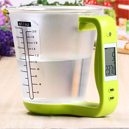 Digital Kitchen Food Scale Dual Function Removable Measuring Cup - LCD Display (Green)