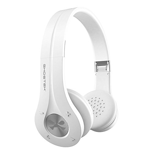Wireless Bluetooth Headphones, Ghostek EarShot Series Over-Ear On-Ear Headset Enhanced Noise Reduction, Bluetooth 4.0, HD Sound, Built-in Microphone, Hands-Free, In-Line Volume Control & Mic (White)