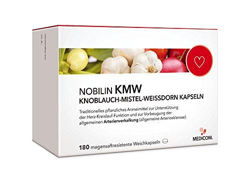 NOBILIN KMW KNOBLAUCH MISTEL WEISSDORN - 720 Weichkapseln - geruchlos, pflanzlich - Vorbeugung gegen Arteriosklerose, Herz-Kreislauf-Erkrankungen