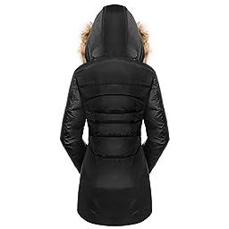 Valuker Women\'s Down Coat With Fur Hood 90D Parka Puffer Jacket 57-Black-M