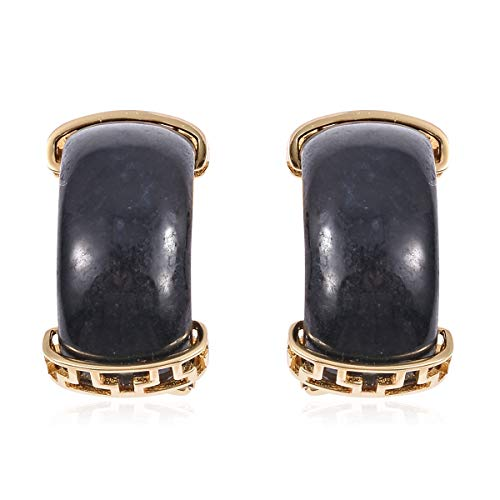 Silver Vermeil Yellow Gold Plated Black Jade Huggie Hoops Hoop Earrings for Women Jewelry Gift