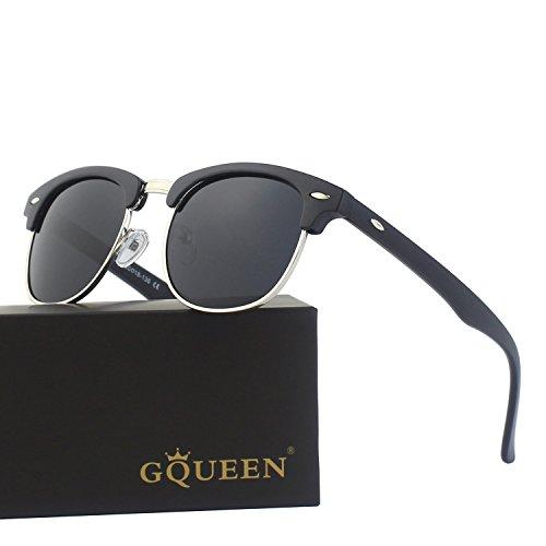 GQUEEN Polarized Horn Rimmed Half Frame Semi Rimless Sunglasses GQO6