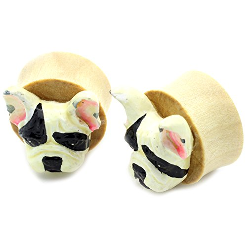 lare Organic Wood Tunnel Plugs Frenchie French Bulldog Dog design ()
