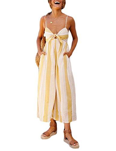 Subtle Flavor Women's Spaghetti Strap Jumpsuit Sexy Knot Front Striped Wide Leg Long Pants Romper Yellow S