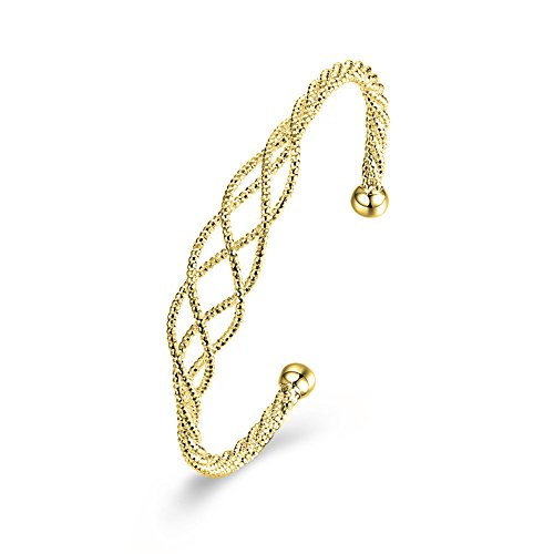(ZUOBAO Jewelry Gold Plated Elastic Adjustable Cuff Bangle Twist Cable Wire Bracelet, 2-Tone (Gold))