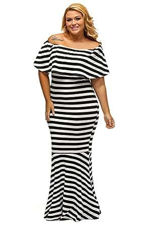 Gloria&Sarah Women's Off The Shoulder Mermaid Striped Ruffle Tube Plus Size Maxi Dress,Black & White,XL(US 14-16)
