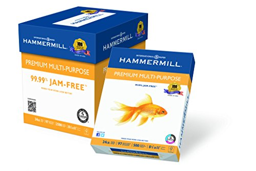 Gold 24 Lb Letter (Hammermill Paper, Premium Multi-Purpose Poly Wrap, 24 lb, 8.5 x 11, Letter,  97 Bright, 2500 Sheets / 5 Ream Case (105810C) Made In The USA)