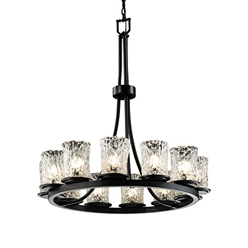 (Justice Design Group Veneto Luce 12-Light Chandelier - Matte Black Finish with Clear Textured Venetian Glass Shade)