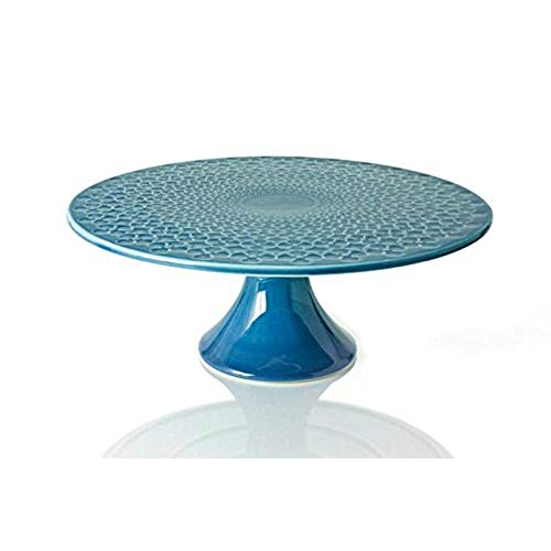 """Deluxe Porcelain Cake Decorating Holder & Carrier By Yedi Houseware – Blue Leveler Standing Plate W/ Unique Four-Clover Design –Platter Stand For Cakes & Sweet Pastries – 11"""" (Royalty Plate Cake)"""