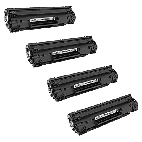 Speedy Inks - 4PK Compatible Replacement for HP 35A CB435A Black Laser Toner for use in LaserJet P1002, LaserJet P1005, & LaserJet (Laser Jet P1006 Toner)