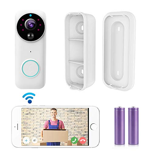 Wireless Video doorbell with Real-time HD Video,Security Camera PIR Motion Activated Alerts, Two-Way Talk,2 Rechargeable Batteries, Easy Installation (White-1)