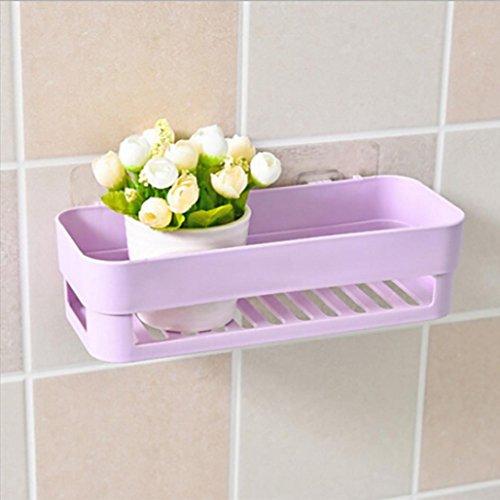 Shower Shelf (25.5×10×7cm),Plastic Suction Cup Bathroom Kitchen Corner Storage Rack Organizer ,Tuscom (Purple)