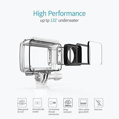 YI 4K Action and Sports Camera, 4K/30fps Video 12MP Raw Image with EIS, Live Stream, Voice Control, Waterproof Case - White