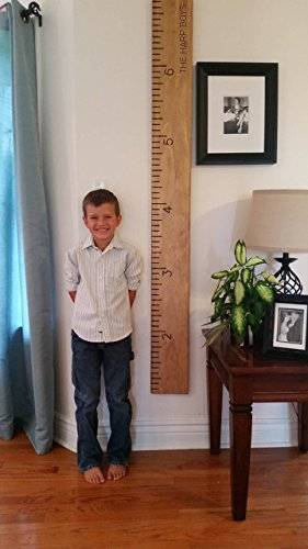 custom growth chart, engraved, personalized wooden ruler, measuring height stick, routed, handmade by Half Pint Ink Studio