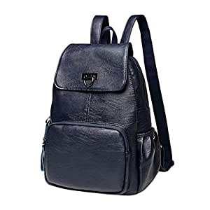 Wultia - Bags for Women Women Leisure Leather Fashion Large Capacity Shoulders Bag Travel Backpack Bolsa Feminina Blue