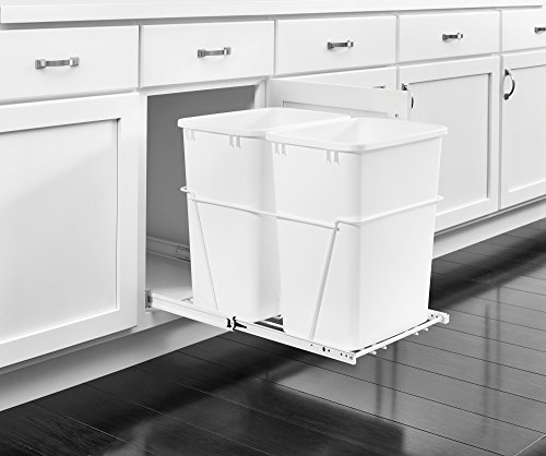 Rev-A-Shelf - RV-18PB-2 S - Double 35 Qt. Pull-Out White Waste Containers with Full-Extension Slides