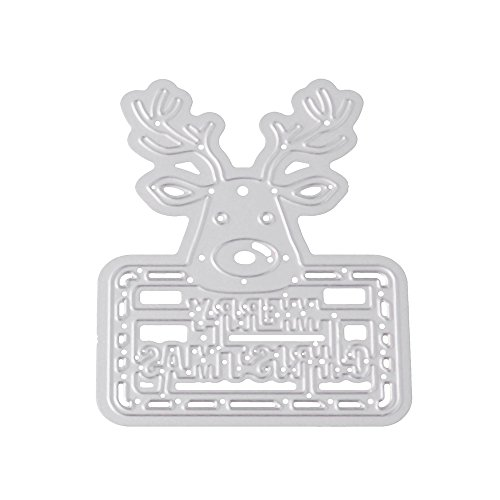 Cloudro Cutting Dies for Making Card Christmas Deers Tree Birds DIY Metal Cutting Dies Stencil Template Mould for Card Making Scrapbook Tool Embossing Album Paper Craft (Deers) -