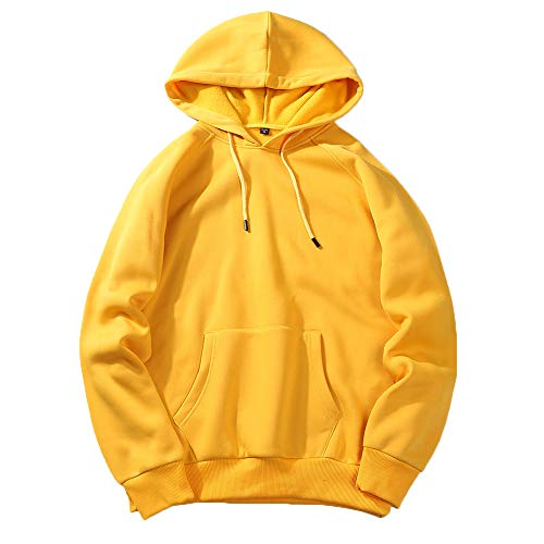 Realdo Big Promotion Mens Plus Size Solid Hoodie Casual Loose Fit Fleece Sweatshirt Top Clearance(2X-Large,Yellow) ()